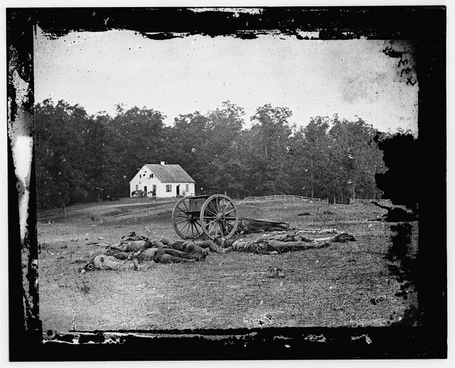 dead in front of Dunker Church after the battle(photo courtesy Library of Congress)