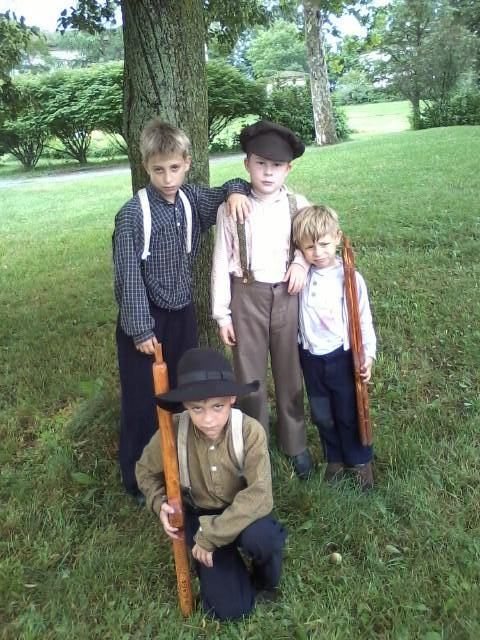 Little soldier boys: Josiah, Mason, Asa and Gage