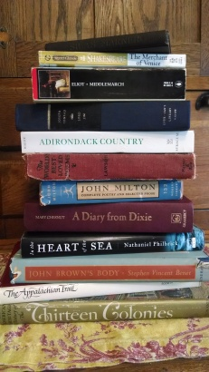 Some of my recent book acquisitions. I got all 12 of them for $5 at a used library sale!