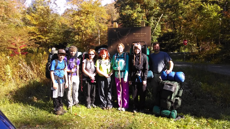 Our group standing by the trailhead map (minus Mr. Jeff who was taking the picture).