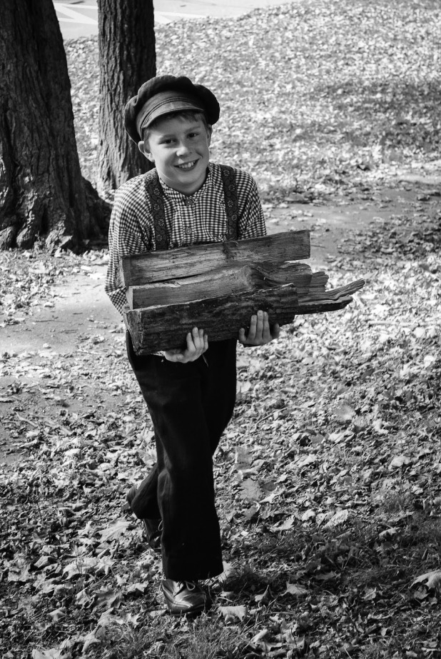 Mason hauling wood like a true 19th century gentleman (photo by Emily)